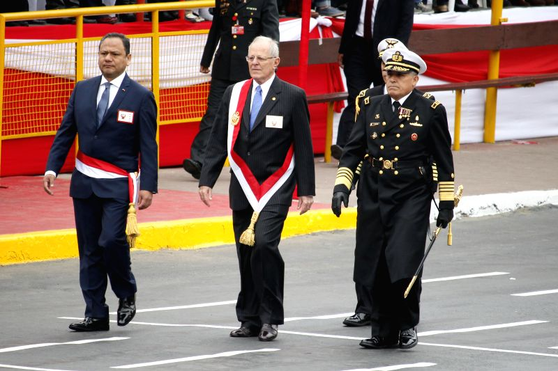 LIMA, July 30, 2016 - Peruvian President Pedro Pablo Kuczynski (C) attends the military parade held in commemoration of the 195th anniversary of Peruvian Independence from Spain, in Lima, capital of ...