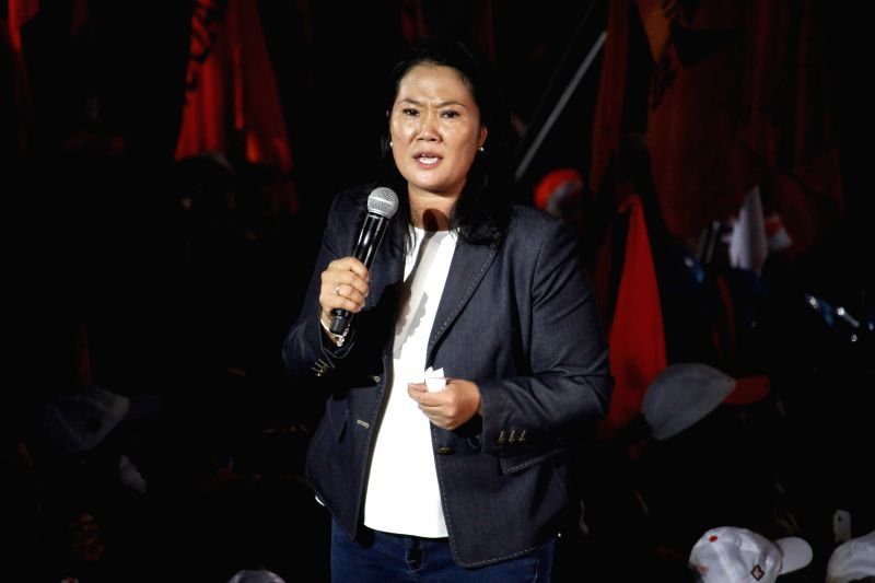 LIMA, June 3, 2016 - Peruvian presidential hopeful Keiko Fujimori of the center-right Popular Force (FP) Party addresses a campaign closing for the second round of elections in Peru, in the Villa El ...