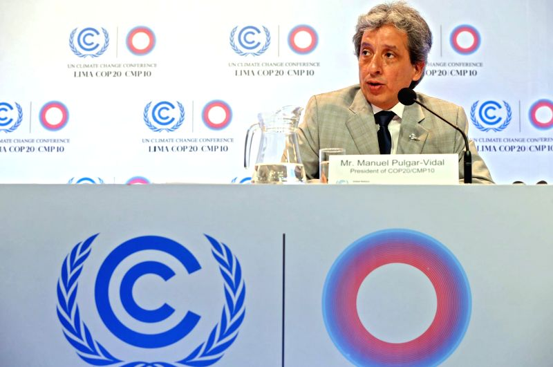Manuel Pulgar Vidal, president of the 20th Conference of the United Nations on Climate Change (COP20), addresses a press conference in the context of the COP20, in Lima, capital of Peru, on ...