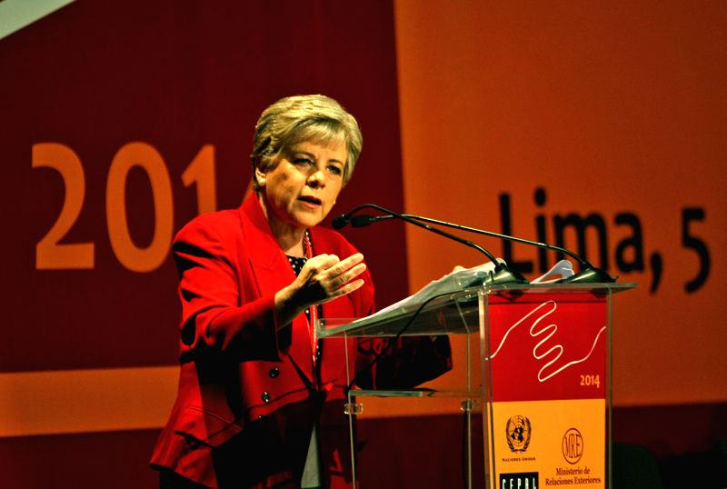 Executive Secretary of the Economic Commission for Latin America and the Caribbean (CEPAL) Alicia Barcena delivers a speech during the opening ceremony of the 25th ...