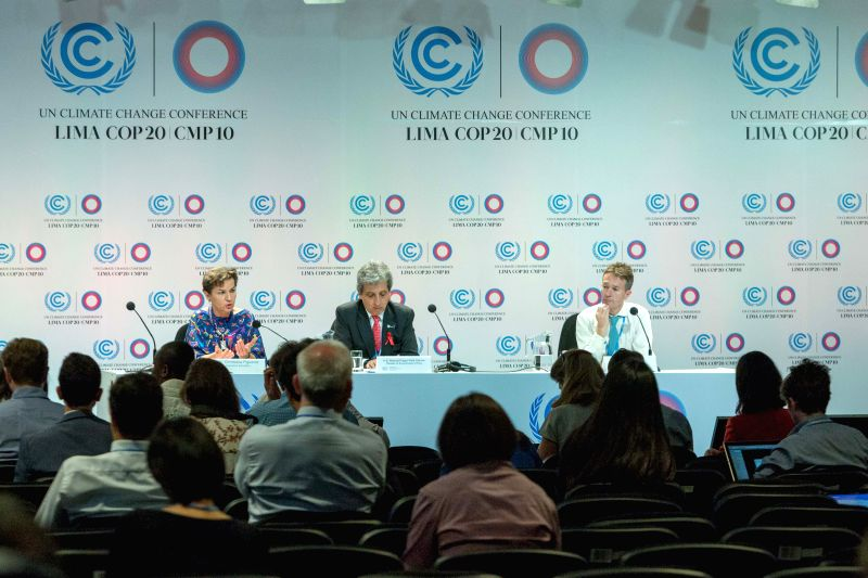 Lima (Peru): Reporters attends a press conference of United Nations Framework Convention on Climate Change (UNFCCC),in Lima, capital of Peru, Dec. 1, 2014.