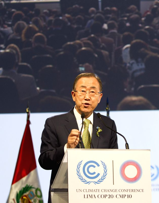 Lima : United Nations Secretary-General Ban Ki-moon speaks at the high-level segment of the United Nations Conference on Climate Change in Lima, capital of Peru Dec. 9, 2014. The draft pact to reach .