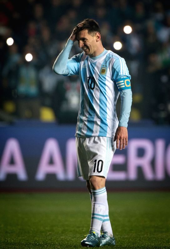 Lionel Messi of Argentina reacts during the semifinal between Argentina and Paraguay at the 2015 Copa America, in Concepcion, Chile, on June 30, 2015. Argentina ...