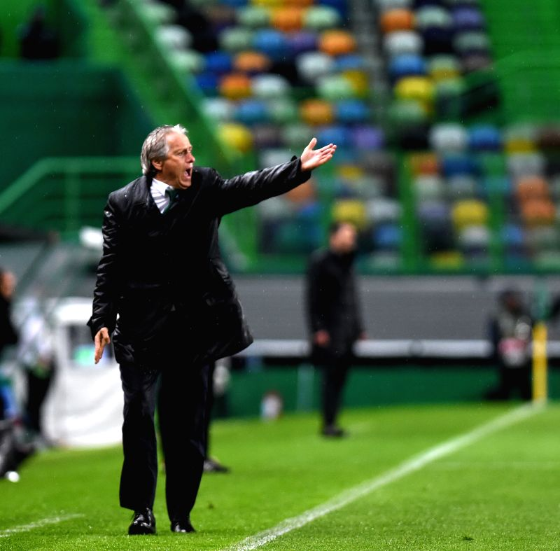 LISBON, April 13, 2018 - Head Coach of Sporting Jorge Jesus reacts during the Europa League quarterfinal second leg soccer match between Sporting CP and Club Atletico de Madrid at the Jose Alvalade ...