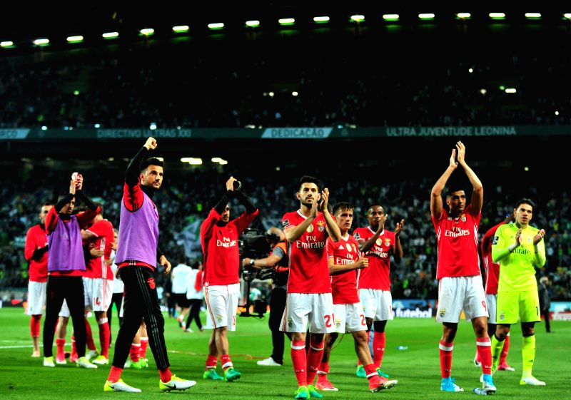 LISBON, April 23, 2017 - Benfica's players acknowledge the spectators after the Portuguese league soccer match between Sporting CP and SL Benfica at Alvalade Stadium in Lisbon, Portugal, April 22, ...