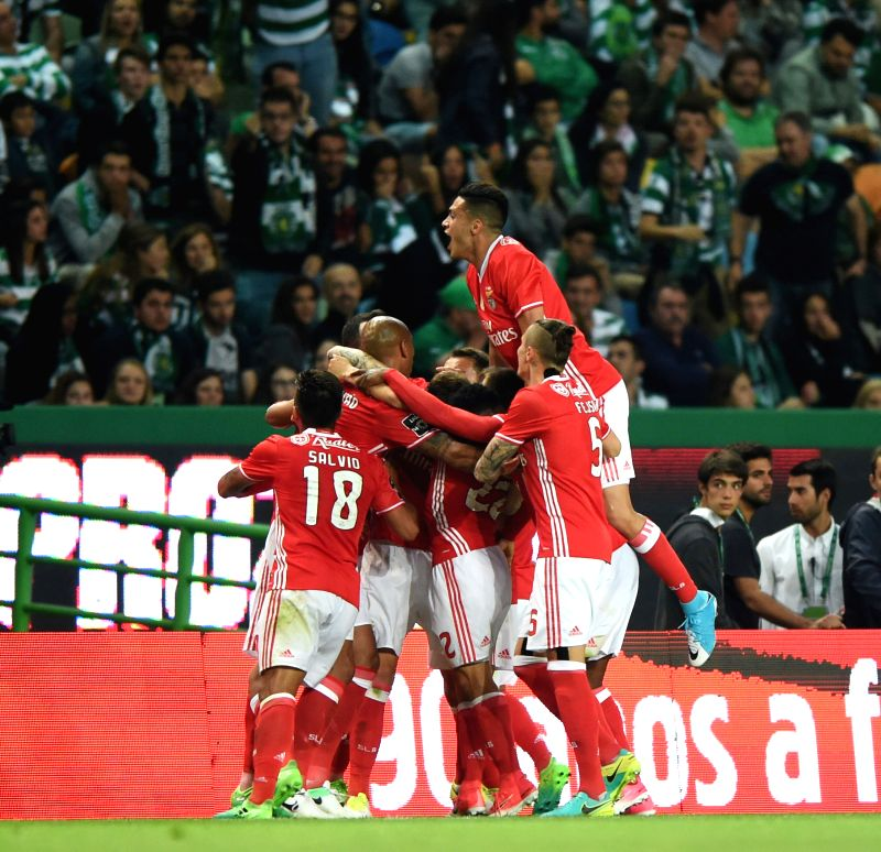 LISBON, April 23, 2017 - Benfica's players celebrate their goal during Portuguese league soccer match between Sporting CP and SL Benfica at Alvalade Stadium in Lisbon, Portugal, April 22, 2017. The ...