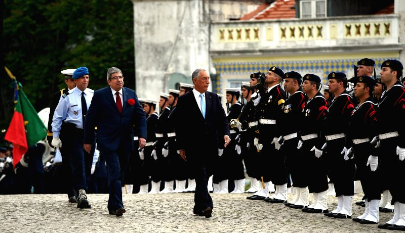 LISBON, April 26, 2017 - Portuguese President Marcelo Rebelo de Sousa (C) reviews the honour guard during an event marking the Carnation Revolution's 43rd anniversary in Lisbon, Portugal, April 25, ...