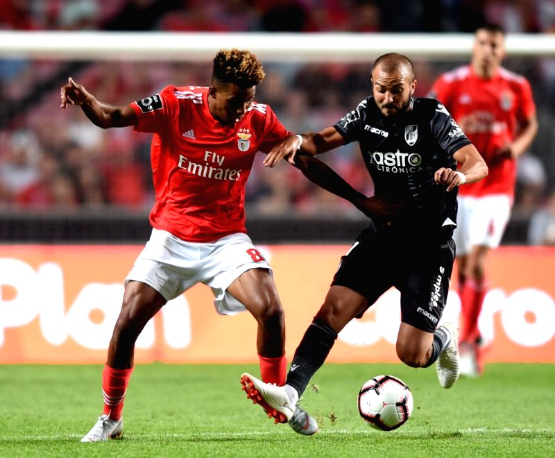 LISBON, Aug. 11, 2018 - Gedson Fernandes (L) of Benfica vies for the ball during the Portuguese league football match between SL Benfica and Vitoria Guimaraes SC at the Luz Stadium in Lisbon, ... - Gedson Fernandes