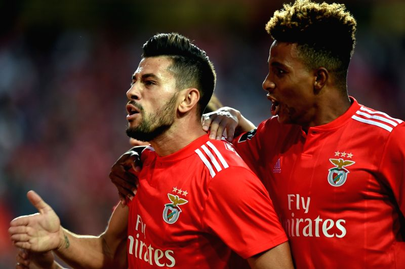 LISBON, Aug. 11, 2018 - Pizzi (L) of Benfica celebrates with teammate Gedson Fernandes after scoring a goal during the Portuguese league football match between SL Benfica and Vitoria Guimaraes SC at ... - Gedson Fernandes