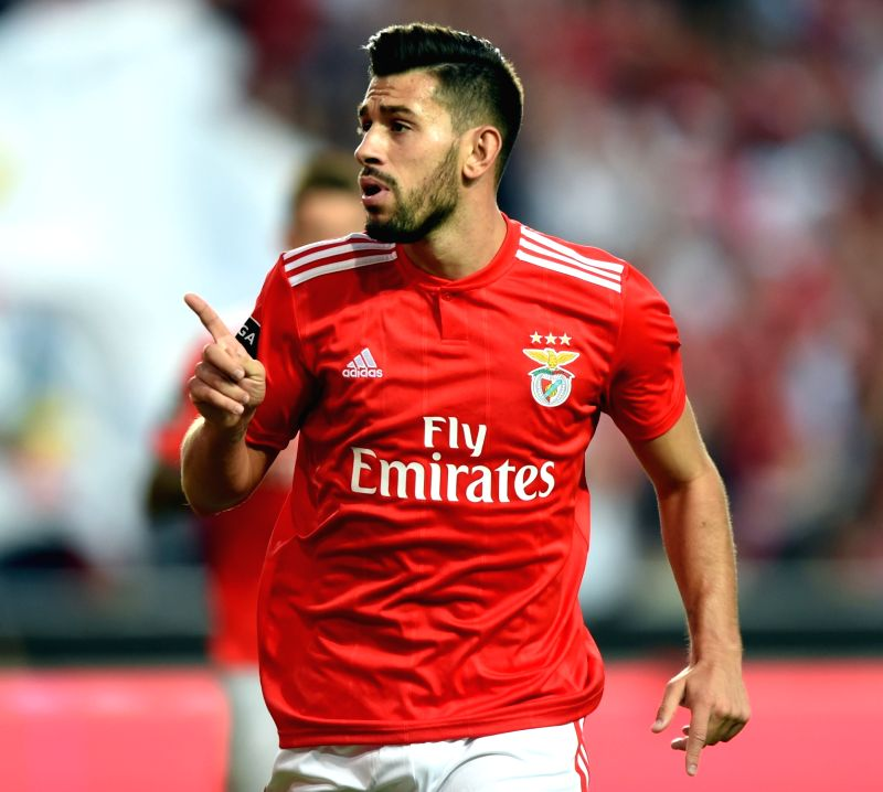 LISBON, Aug. 11, 2018 - Pizzi of Benfica celebrates after scoring a goal during the Portuguese league football match between SL Benfica and Vitoria Guimaraes SC at the Luz Stadium in Lisbon, ...