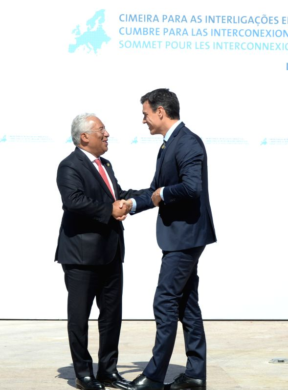 LISBON, July 28, 2018 - Portuguese Prime Minister Antonio Costa (L) greets his Spanish counterpart Pedro Sanchez upon his arrival for the Energy Interconnections Summit at the European Maritime ... - Antonio Costa