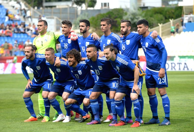 LISBON, June 4, 2017 - Cyprus'players pose for a group photo before the international friendly soccer match Portugal vs Cyprus at the Antonio Coimbra da Mota stadium in Estoril town, outskirts of ...