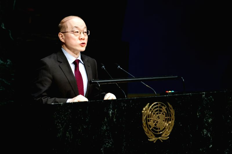 "Liu Jieyi, China's permanent representative to the UN, speaks during an UN General Assembly meeting on ""Report of the International Atomic Energy ..."