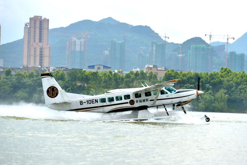 LIUZHOU, May 27, 2016 - An aquatic plane prepares to take off on the Liujiang River at the Jinglan aquatic base in Liuzhou City, south China's Guangxi Zhuang Autonomous Region, May 26, 2016. Liuzhou ...