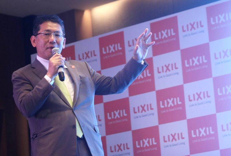 "LIXIL Group President and CEO Kinya Seto addresses during the launch of ""Project Nadee"" - an initiative for plumbers, in New Delhi on Aug 9, 2018."