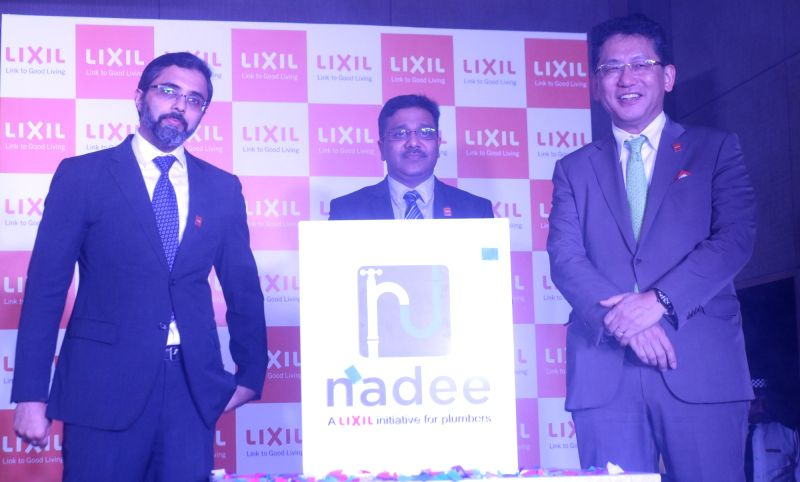 "LIXIL Group President and CEO Kinya Seto and CEO - Asia Pacific, Bijoy Mohan during the launch of ""Project Nadee"" - an initiative for plumbers , in New Delhi on Aug 9, 2018."