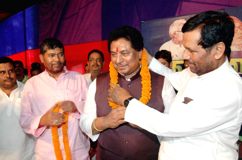 LJP chief and Union Minister for Consumer Affairs, Food and Public Distribution Ramvilas Paswan during a party programme in Patna on Aug 19, 2014.