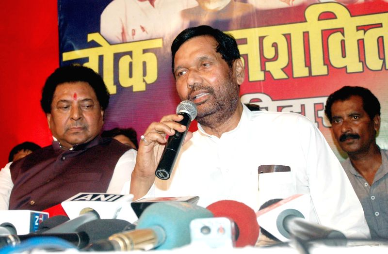 LJP chief and Union Minister for Consumer Affairs, Food and Public Distribution Ramvilas Paswan addresses during a party programme in Patna on Aug 19, 2014.