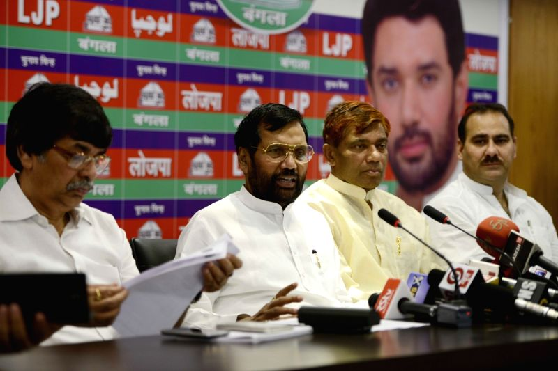 LJP chief and Union Minister for Consumer Affairs, Food and Public Distribution Ramvilas Paswan addresses a press conference at his residence in New Delhi, on May 16, 2016.
