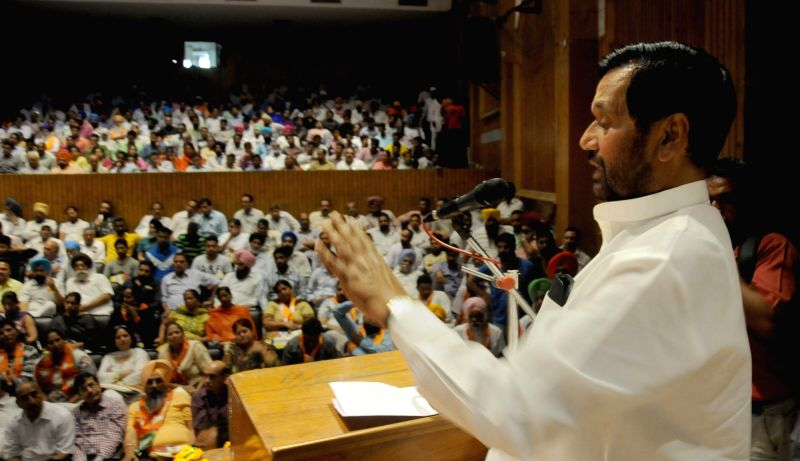LJP chief and Union Minister for Consumer Affairs, Food and Public Distribution Ramvilas Paswan during a BJP-LJP programme in Amritsar, on May 27, 2016.