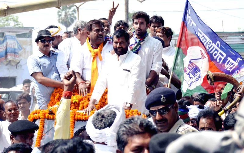 LJP supremo Ram Vilas Paswan arrives to file hi nomination papers in Hajipur on April 15, 2014.