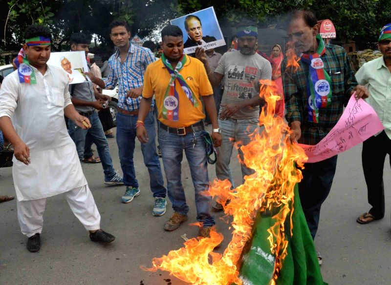 LJP workers stage a demonstration after a Pakistani flag was hoisted in Nalanda district; in Patna on July 21, 2016.