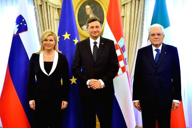 LJUBLJANA, Jan. 13, 2018 - Slovenian President Borut Pahor (C) hosts Italy's President Sergio Mattarella (R) and Croatia's President Kolinda Grabar-Kitarovic at the ceremonial lunch for the ...
