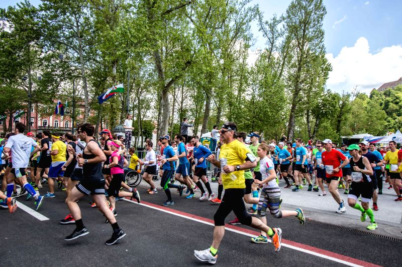 LJUBLJANA, May 9, 2016 - Participants run during the Wings For Life World Run in Ljubljana, Slovenia, May 8, 2016. This activity was organized to raise money for spinal cord injury worldwide.