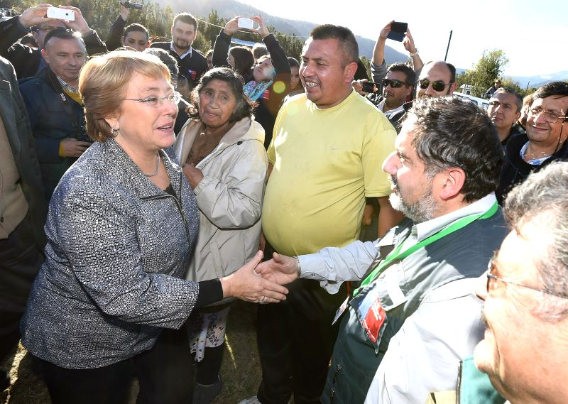 Image provided by Chile's Presidency shows Chilean President Michelle Bachelet (L front) inspecting an area affected by the eruption of the Calbuco volcano, in ...