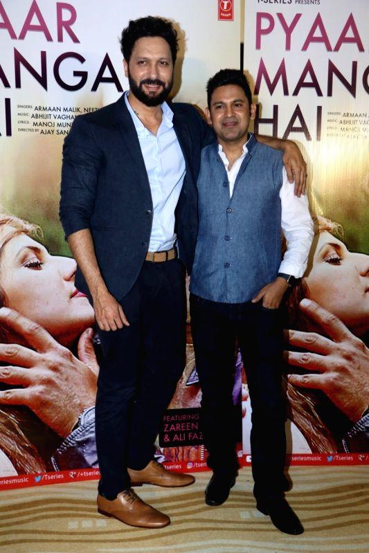 Llyricist Manoj Muntashir and composer Abhijit Vaghani  during the song launch of Pyaar Manga Hai, in Mumbai on August 3, 2016