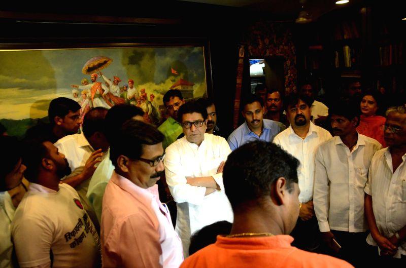 Locals opposing the upcoming refinery project at Nanar of Maharashtra's Ratnagiri district meet Maharashtra Navnirman Sena (MNS) chief Raj Thackeray ; in Mumbai on April 14, 2018.