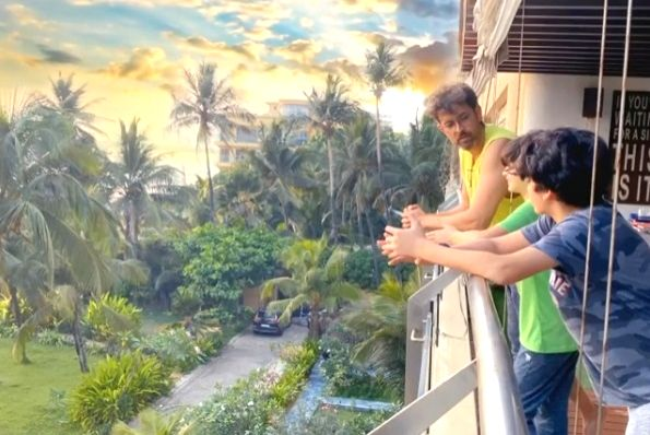 Lockdown diaries: Hrithik, sons savour a beautiful balcony view.
