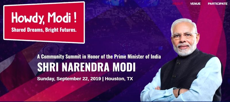 """Logo for the """"Howdy Modi!"""" meeting being organised by Texas India Forum for Prime Minister Narendra Modi in Houston, Texas, on September 22, 2019. (Photo: Texas India Forum)"""