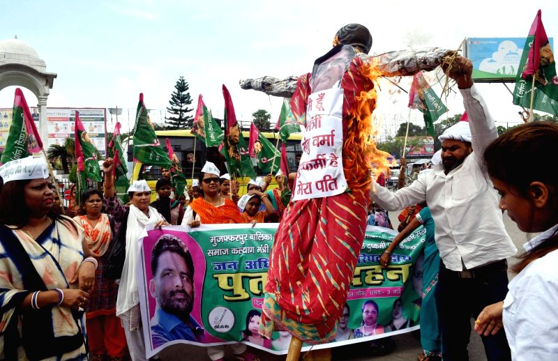 Lok Janata Party workers stage a demonstration against Muzaffarpur shelter home rape case, in Patna, on July 27, 2018.
