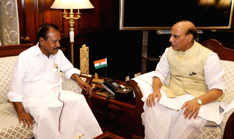 Lok Sabha Deputy Speaker M. Thambi Durai calls on Union Home Minister Rajnath Singh, in New Delhi, on Aug 7, 2018. - M. Thambi Durai and Rajnath Singh