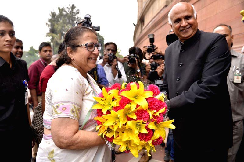 Lok Sabha speaker Sumitra Mahajan arrives at the Parliament to cast her vote in presidential polls on July 17, 2017. - Sumitra Mahajan