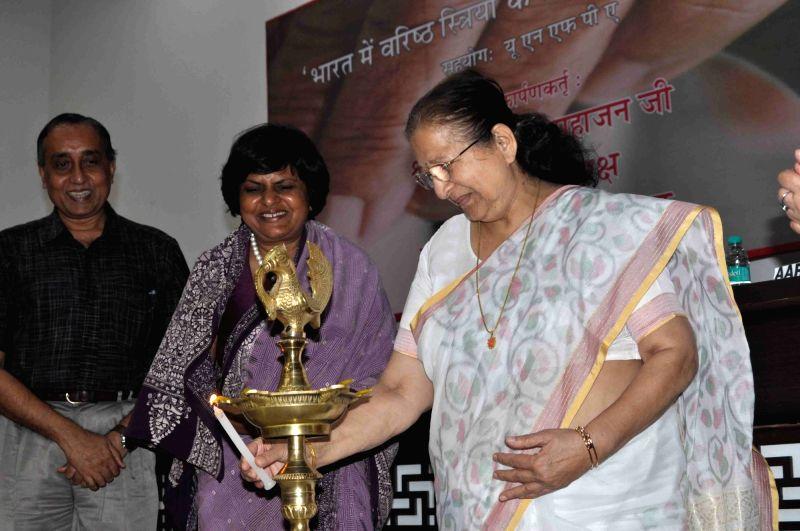 "Lok Sabha Speaker Sumitra Mahajan inaugurates ""Innovative Practices for Care of Elderly Women in India"" -  a Stree Shakti study at Constitution Club of India in New Delhi, on Aug ... - Sumitra Mahajan"