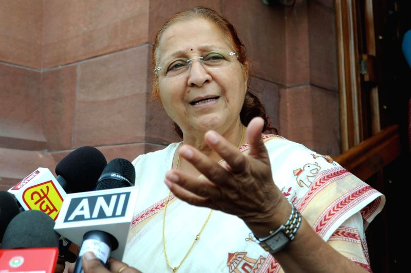 Lok Sabha Speaker Sumitra Mahajan talks to media at the Parliament in New Delhi on Aug 6, 2014. - Sumitra Mahajan