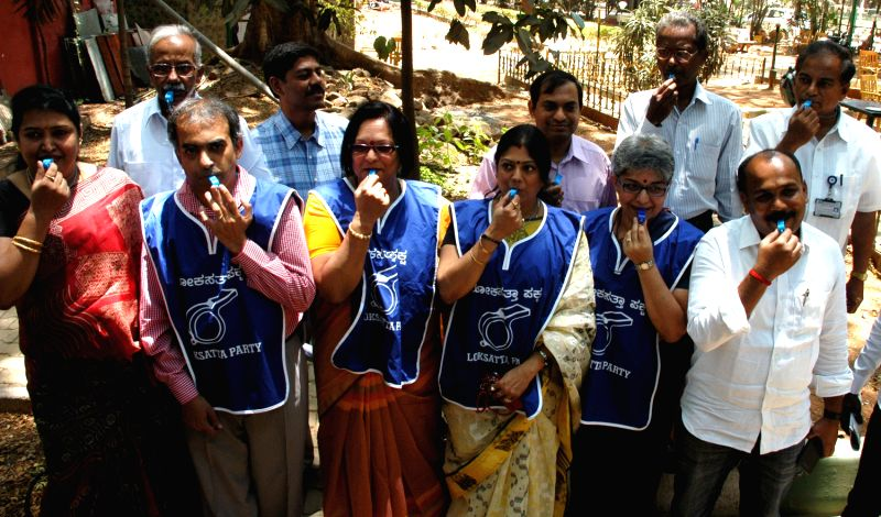 Loksatta Party of Karnataka candidates, Rupa Rani, a pharmacist from Rajajinagar, Sumitra Iyengar, Entrepreneur from Padmanabha Nagar, Shanthala Damle, software professional from Basavangudi, Sridhar Pabbisetty, COO, IIM-B from Hebbal and Dr Meenakshi Bharth, Fertility expert from Malleswaram addressing press conference announcing contesting the ensuing state assembly  elections at Press Club in Bengaluru on March 28, 2013
