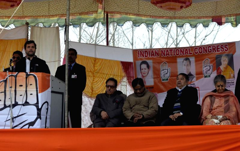Congress vice president Rahul Gandhi addresses during a public meeting in Lolab of Kupwara, Jammu and Kashmir ahead of assembly polls on Nov 25, 2014. Also seen Congress leader Ambika Soni, ...