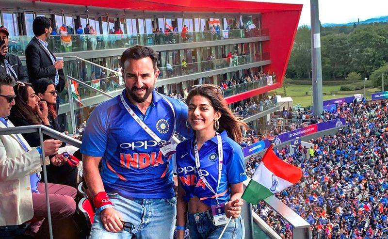 Actress Pooja Bedi's daughter Alaia F and actor Saif Ali Khan during India's match against Pakistan at the 2019 ICC World Cup, in London