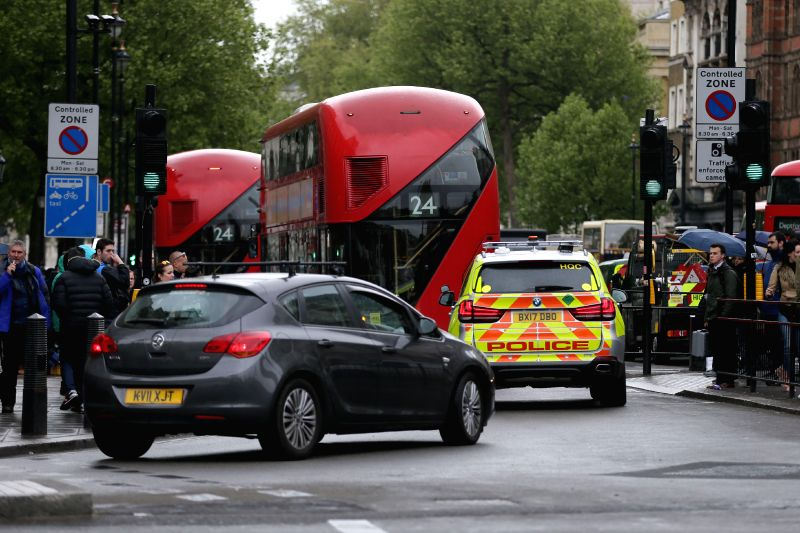 LONDON, Apr. 27, 2017 - The scene on Whitehall after a police arrested man on suspicion of terrorism offences, who was carrying knives, in London, Britain on April 27, 2017. Police said on Thursday ...