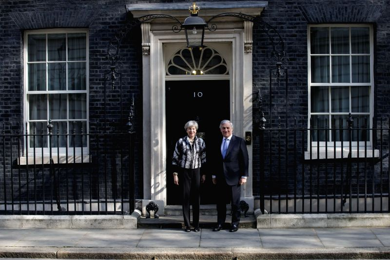 LONDON, April 20, 2017 - British Prime Minister Theresa May meets President of the European Parliament Antonia Tajani at 10 Downing Street in London, Britain on April 20, 2017. - Theresa May