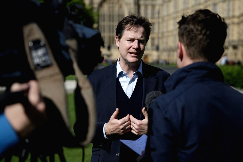 LONDON, April 20, 2017 - Former leader of the Liberal Democrats Nick Clegg speaks with media outside the houses of Parliament in London, Britain, on April 19, 2017. Members of Parliament in the ... - Theresa M