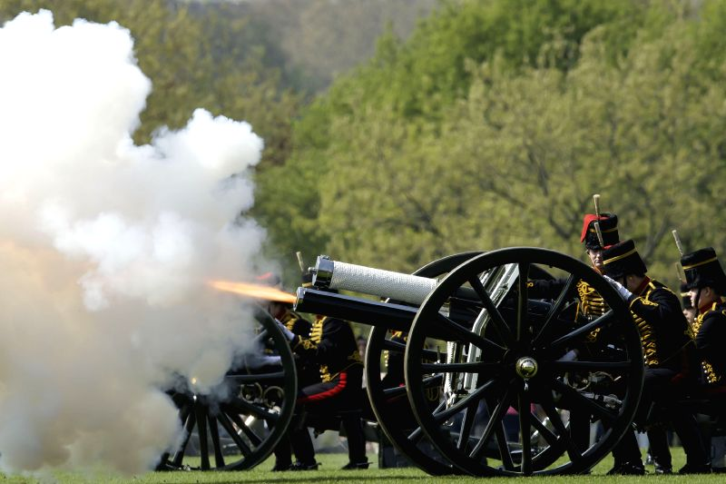 LONDON, April 21, 2018 - The King's Troop Royal Horse Artillery fire a 41-round gun salute to mark Queen Elizabeth II's 92nd birthday in Hyde Park of London, Britain, April 21, 2018.