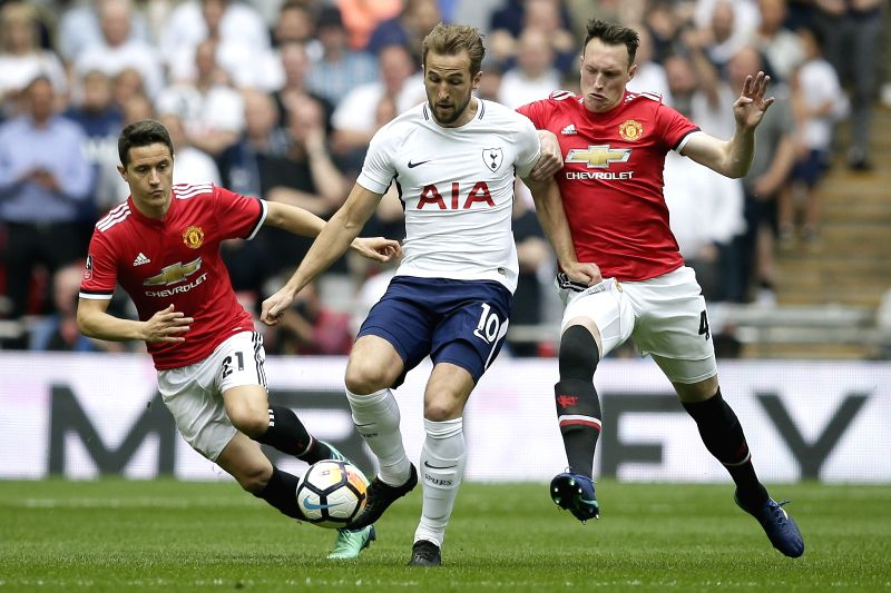 LONDON, April 22, 2018 - Tottenham Hotspur's Harry Kane (C) vies with Manchester United's Ander Herrera (L) and Phil Jones during the FA Cup semi-final between Manchester United and Tottenham Hotspur ...