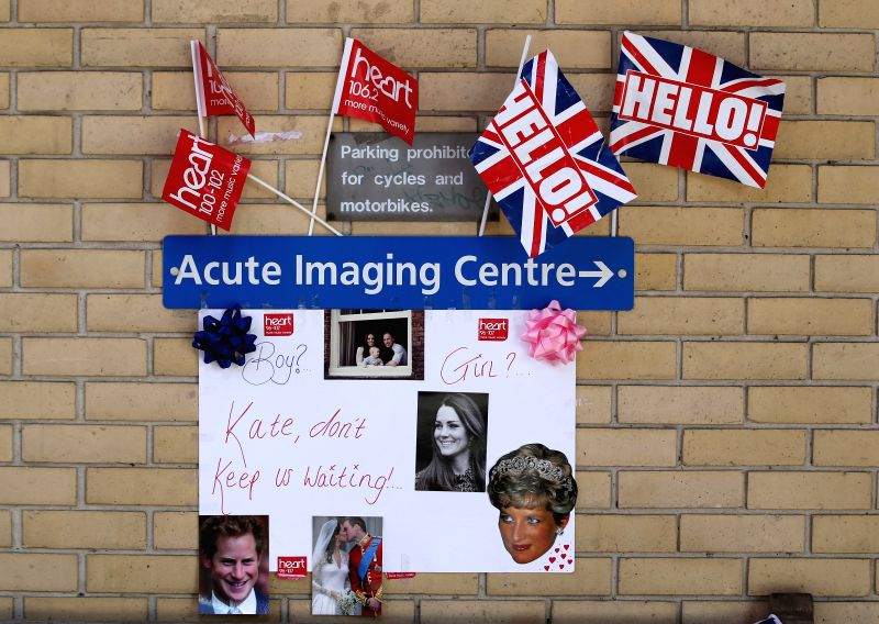 Decorations left by royal enthusiasts are seen outside the Lindo wing of St Mary's Hospital in London, Britain, April 28, 2015. Catherine, Duchess of Cambridge, is ...