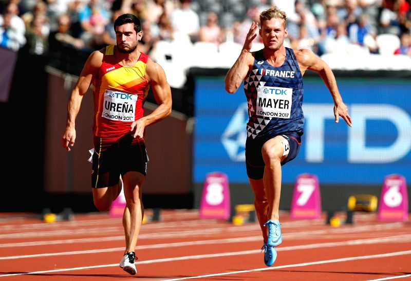 LONDON, Aug. 11, 2017 - Kevin Mayer of France competes during 100m of Men's Decathlon on Day 8 of the 2017 IAAF World Championships at London Stadium in London, Britain, on Aug. 11, 2017.