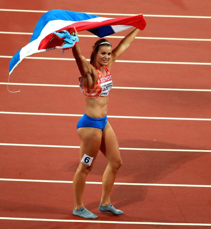LONDON, Aug. 12, 2017 - Dafne Schippers of the Netherlands celebrates after Women's 200m Final on Day 8 of the 2017 IAAF World Championships at London Stadium in London, Britain, on Aug. 11, 2017. ...