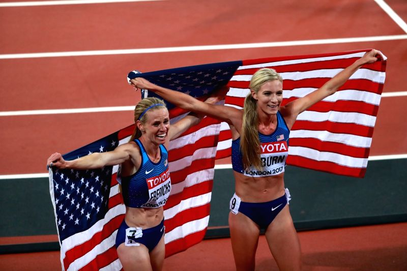 LONDON, Aug. 12, 2017 - Emma Coburn (R) and Courtney Frerichs of the United States celebrate after Women's 3000m Steeplechase Final on Day 8 of the 2017 IAAF World Championships at London Stadium in ...